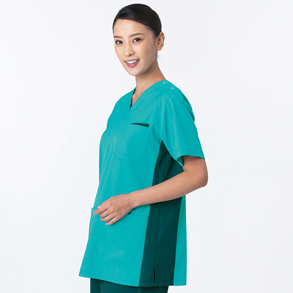 女性用スクラブ HS-8022 ペパーミントグリーン×ダークグリーン EL オンワード 白衣 (取寄品)
