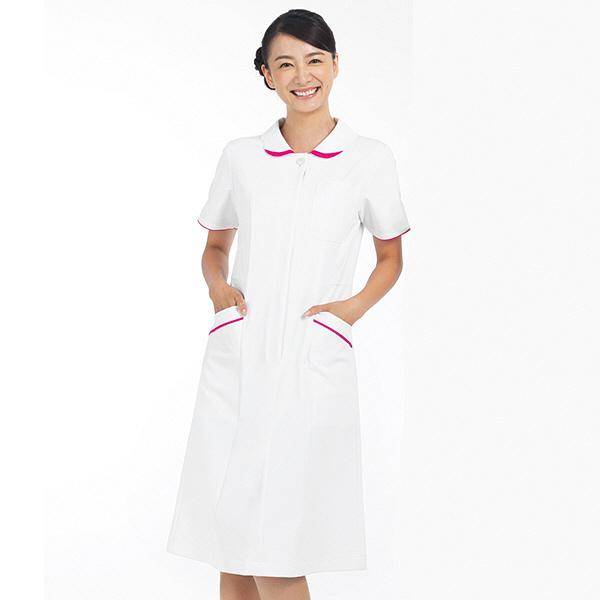 ナースワンピース 5Colors 花衿 OP-3050 ホワイト×ローズ EL オンワード 白衣 (取寄品)