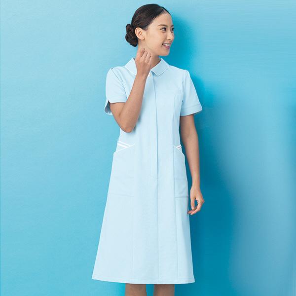 ナースワンピース カラーバリエーション パイピング OP-3053 サックスブルー L オンワード 白衣 (取寄品)