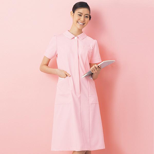 ナースワンピース カラーバリエーション パイピング OP-3054 ピンク M オンワード 白衣 (取寄品)