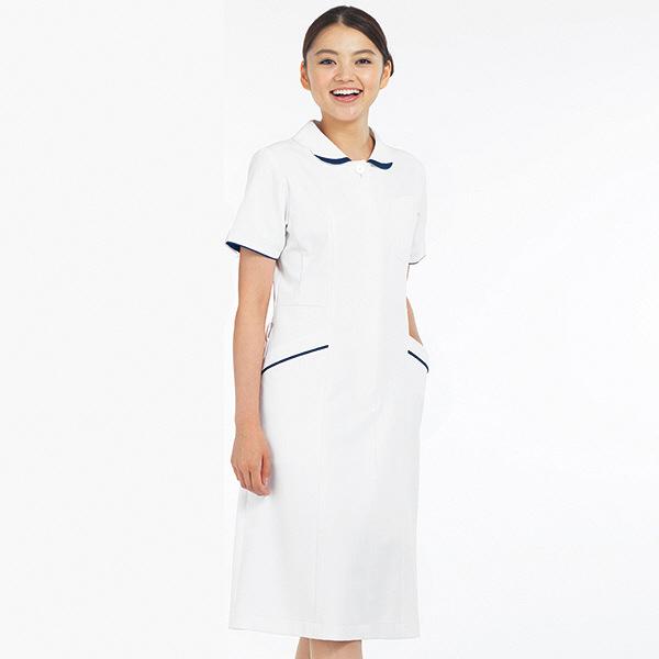 ナースワンピース 5Colors 花衿 OP-3051 ホワイト×ネイビー LL オンワード 白衣 (取寄品)