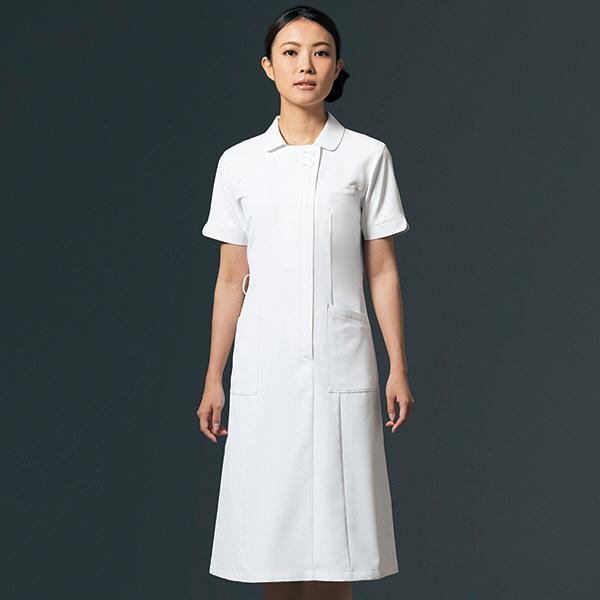 ナースワンピース リアルベーシック 離れ衿 OP-3055 ホワイト L オンワード 白衣 (取寄品)