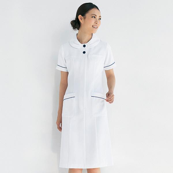 ナースワンピース ノーブルネイビー リボンカラー OP-3046 ホワイト M オンワード 白衣 (取寄品)