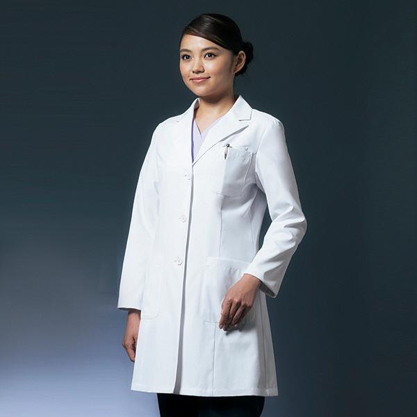 ドクターコート ショート丈 CO-6008 女性用 LL オンワード 白衣 (取寄品)