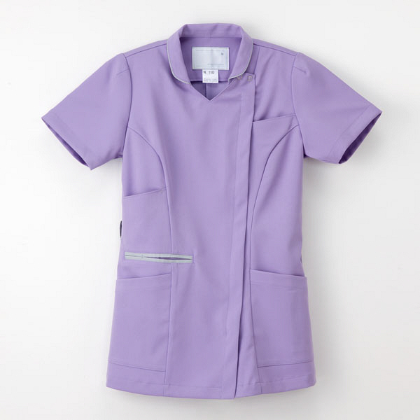 ナガイレーベン 白衣 女子上衣(衿つきスクラブ) ML-1142 ラベンダー S 1枚 (取寄品)