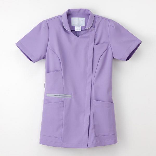 ナガイレーベン 白衣 女子上衣(衿つきスクラブ) ML-1142 ラベンダー EL 1枚 (取寄品)