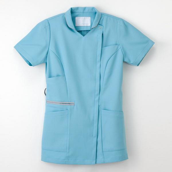 ナガイレーベン 白衣 女子上衣(衿つきスクラブ) ML-1142 ターコイズ S 1枚 (取寄品)