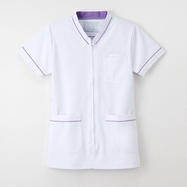 ナガイレーベン 白衣 男女兼用スクラブ HOS-4977 Tラベンダー M 1枚 (取寄品)