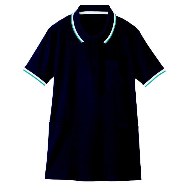 【メーカーカタログ】自重堂 半袖ロングポロシャツ ネービー 4L WH90338 1枚  (取寄品)