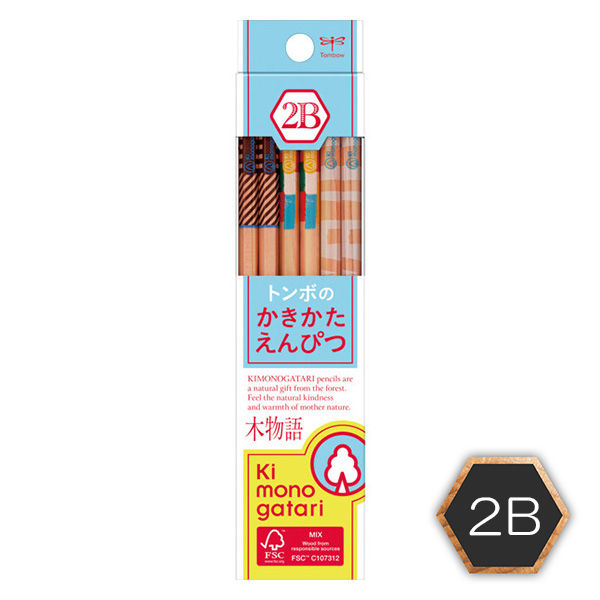 トンボかきかた鉛筆2B 木物語 1ダース