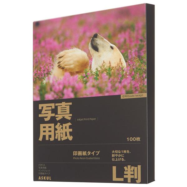 アスクル 写真用インクジェット用紙 印画紙タイプ L判 1セット(1000枚:500枚入×2箱)