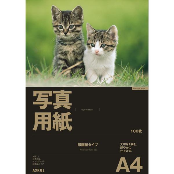 アスクル 写真用インクジェット用紙 印画紙タイプ A4 1セット(500枚:100枚入×5袋)