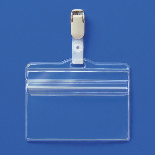 アスクル 名札ケース+プラスチックバンドセット チャック式ケース大/ハピラ 安全ピンなしバンドクリップ 10枚+10個