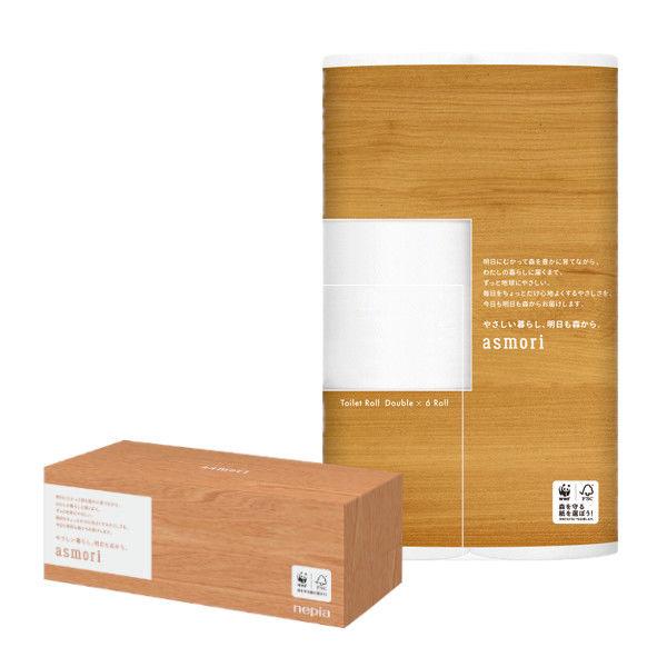 トイレットペーパー ネピアasmori(アスモリ) ダブル 1パック(6ロール入)&ティッシュペーパー 保湿ティシュ 1箱(220組入)
