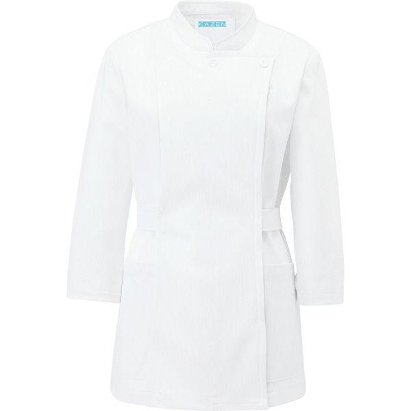 KAZEN レディスジャケット半袖 (ナースジャケット) 医療白衣 ホワイト 4L 088-10(直送品)