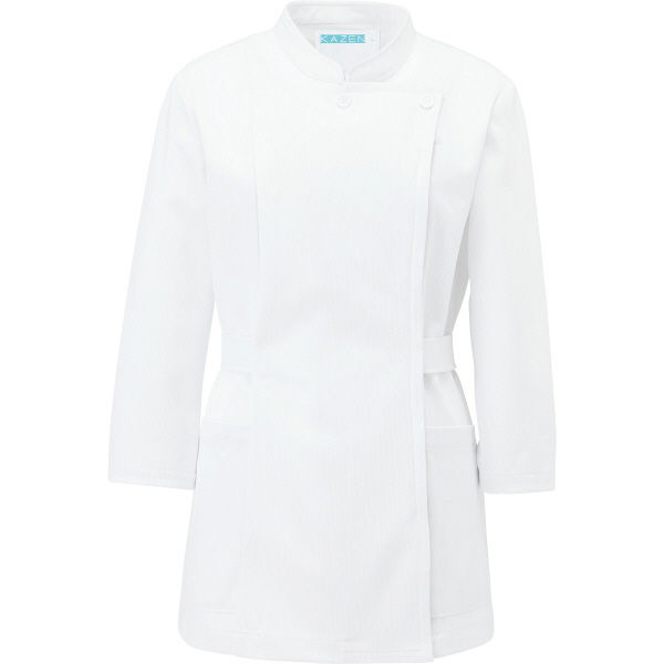 KAZEN レディスジャケット半袖 (ナースジャケット) 医療白衣 ホワイト LL 088-10(直送品)