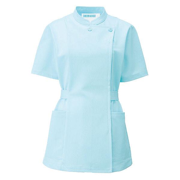 KAZEN レディスジャケット半袖 (ナースジャケット) 医療白衣 ニューサックスブルー(水色) L 088-11 (直送品)