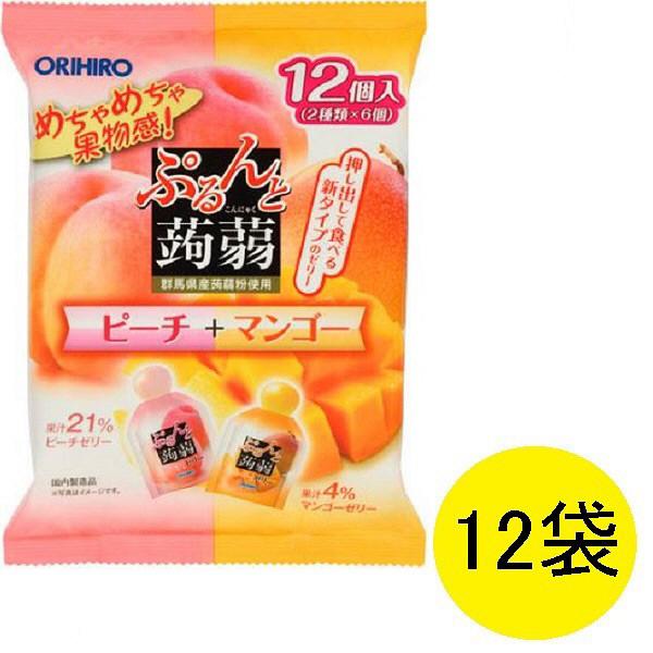ぷるんと蒟蒻ゼリーピーチ+マンゴー12袋