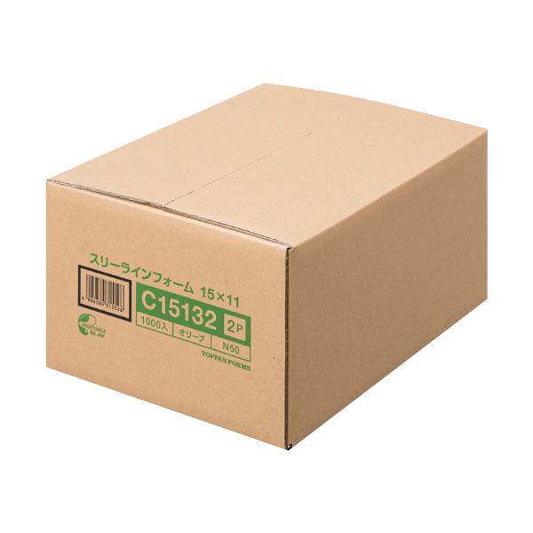 ストックフォーム(スリーライン)2P 11×15インチ グリーン罫 C15132 1箱(1000set) トッパン・フォームズ株式会社