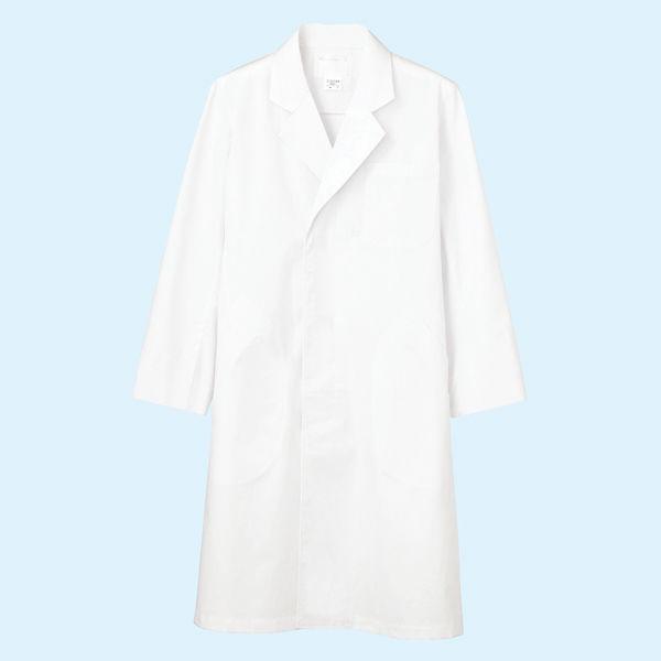 メンズ診察衣(ドクターコート) シングル A71-801 ホワイト L