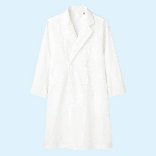 メンズ診察衣(ドクターコート) ダブル A71-811 ホワイト M