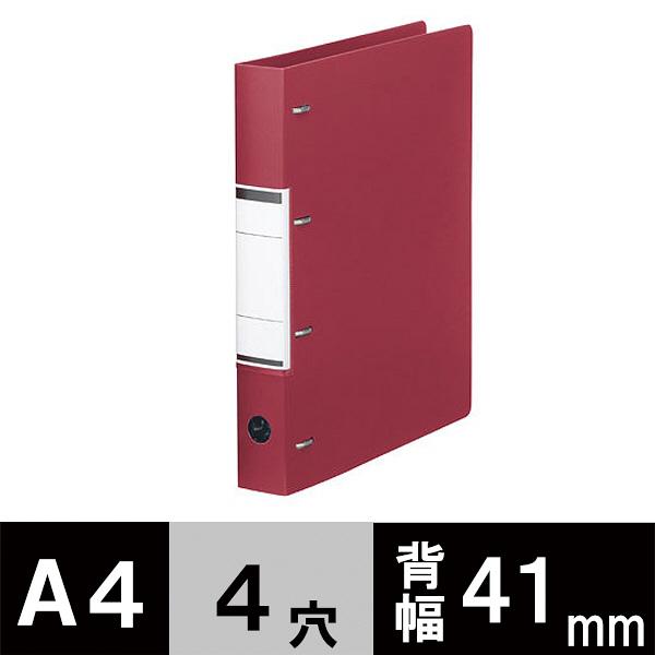 D型4穴リングファイル A4 レッド