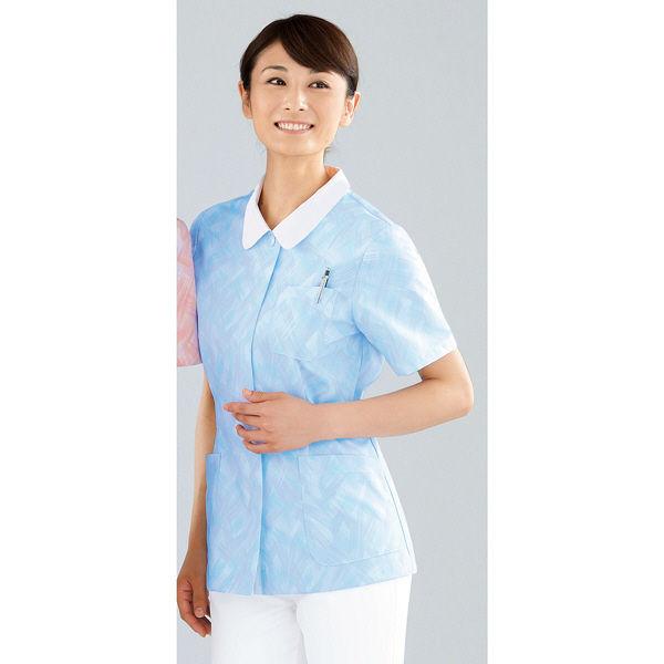 KAZEN レディスジャケット半袖 (ナースジャケット) 医療白衣 サックスブルー(水色) LL 934-91(直送品)