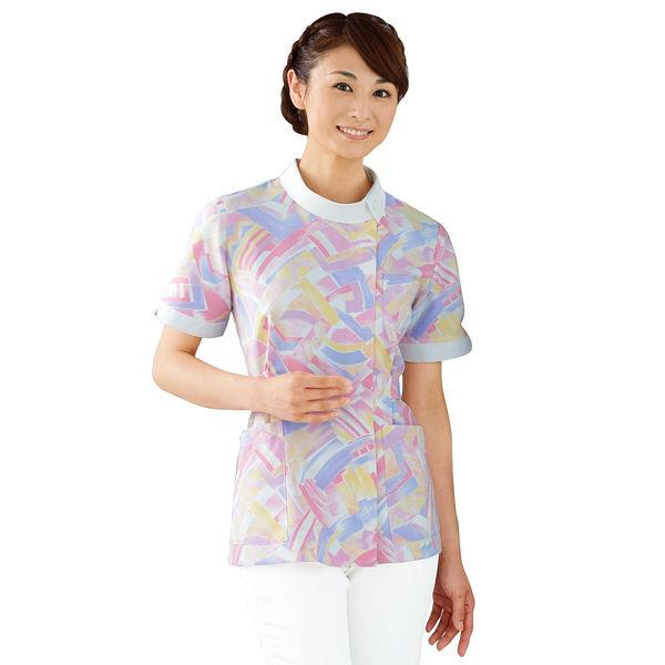 KAZEN レディスジャケット半袖 (ナースジャケット) 医療白衣 パステルピンク 4L 936-97(直送品)