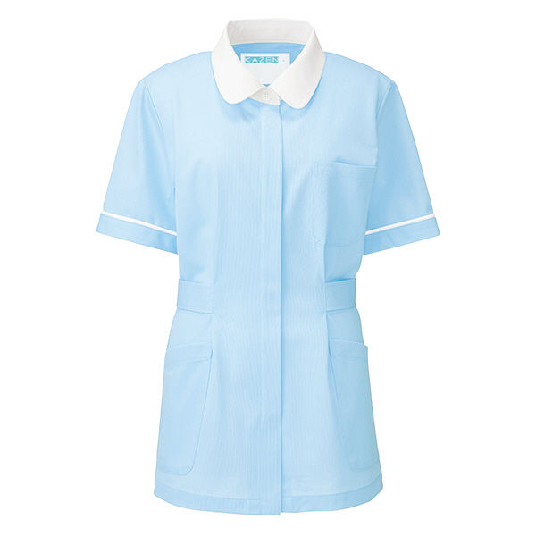 KAZEN レディスジャケット半袖 (ナースジャケット) 医療白衣 サックスブルー(水色) LL 949-11(直送品)