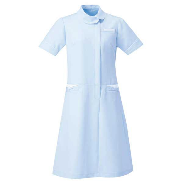 AITOZ(アイトス) アシンメトリーカラーワンピース ナースワンピース 医療白衣 半袖 サックス×ホワイト M 861114