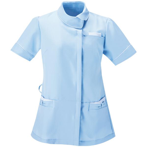 AITOZ(アイトス) アシンメトリーカラーチュニック ナースジャケット 医療白衣 半袖 サックス×ホワイト L 861115