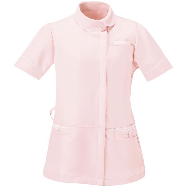 AITOZ(アイトス) アシンメトリーカラーチュニック ナースジャケット 医療白衣 半袖 ピンク×ホワイト S 861115