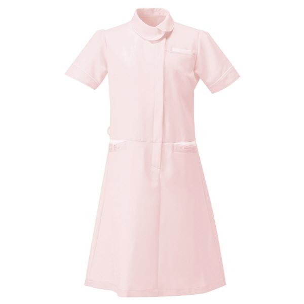 AITOZ(アイトス) アシンメトリーカラーワンピース ナースワンピース 医療白衣 半袖 ピンク×ホワイト L 861114