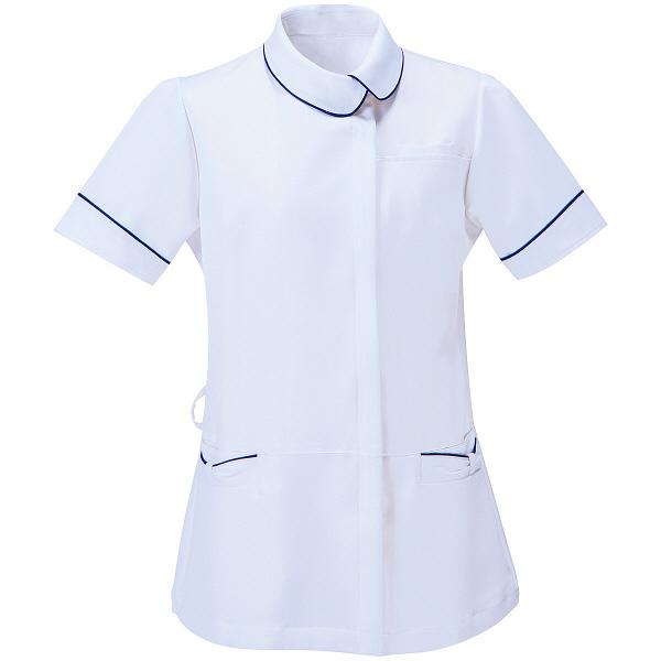 AITOZ(アイトス) アシンメトリーカラーチュニック ナースジャケット 医療白衣 半袖 ホワイト×ネイビー M 861115