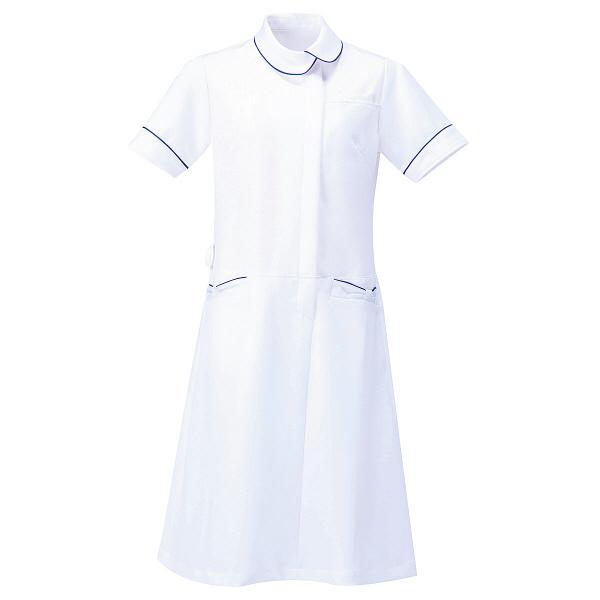 AITOZ(アイトス) アシンメトリーカラーワンピース ナースワンピース 医療白衣 半袖 ホワイト×ネイビー M 861114