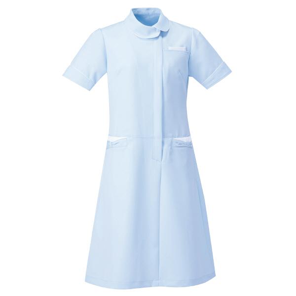 AITOZ(アイトス) アシンメトリーカラーワンピース ナースワンピース 医療白衣 半袖 サックス×ホワイト S 861114