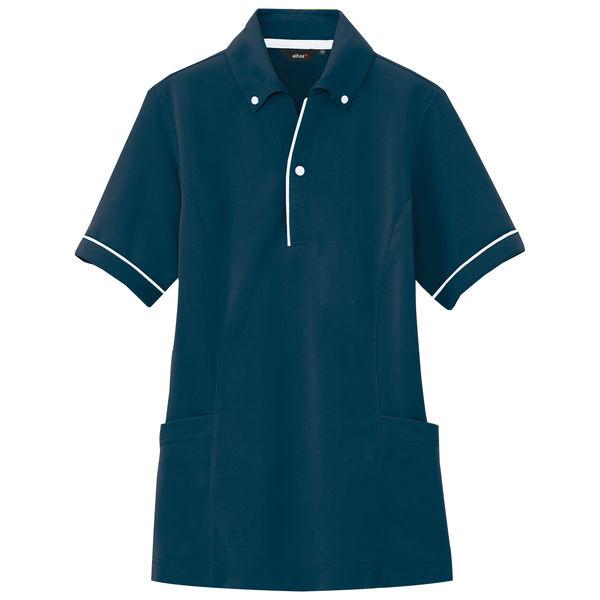 AITOZ(アイトス) サイドポケット半袖ポロシャツ 介護ユニフォーム 男女兼用 ネイビー LL AZ7668-008