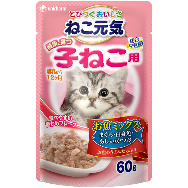 ねこ元気子猫パウチお魚ミックス鰹×12