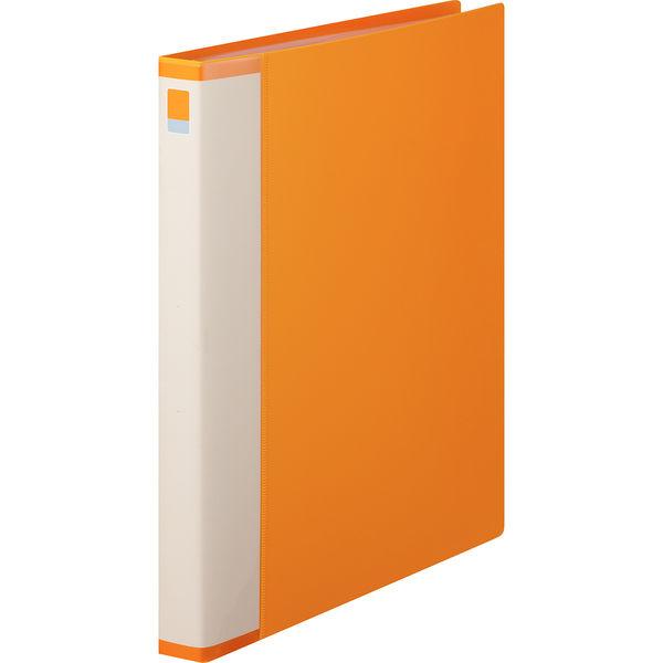 クリヤーブック 差し替え式 30穴 A4タテ 15ポケット 背幅2.5cm 10冊 オレンジ アスクル
