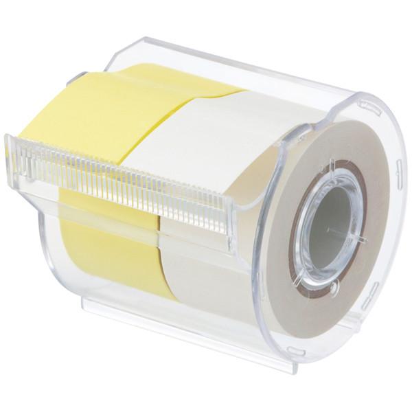 ヤマト メモックロールテープ 再生紙 黄&白 25mm幅 カッター付 R-25CH-WY
