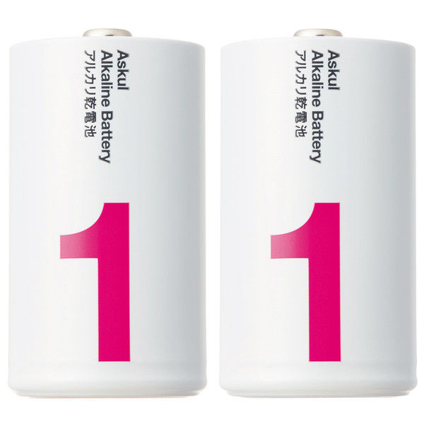 アスクルアルカリ乾電池 単1形 2本