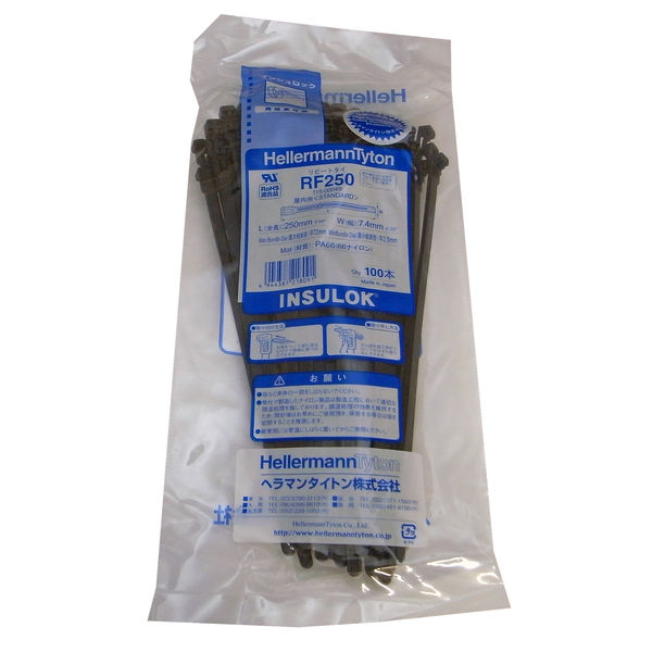 HellermannTyton(ヘラマンタイトン) ケーブルタイ 屋内用 リピートタイRF250 100本入 標準 黒 1袋(100本入)