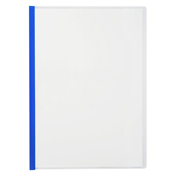 アスクル レール式クリアーホルダー A4タテ 10枚とじ ブルー 30冊