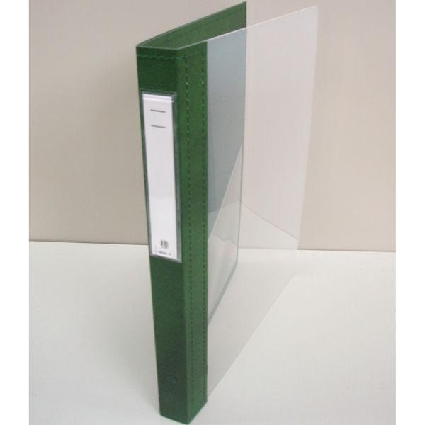 リヒトラブ カルテブック クリヤー表紙 4穴 背幅28mm グリーン HB417-3 1箱(10冊入) (直送品)