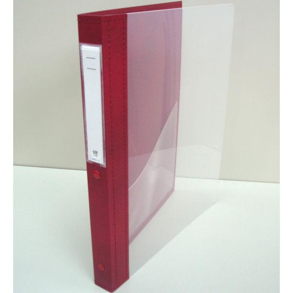 リヒトラブ カルテブック クリヤー表紙 4穴 背幅28mm レッド HB417-5 1箱(10冊入) (直送品)