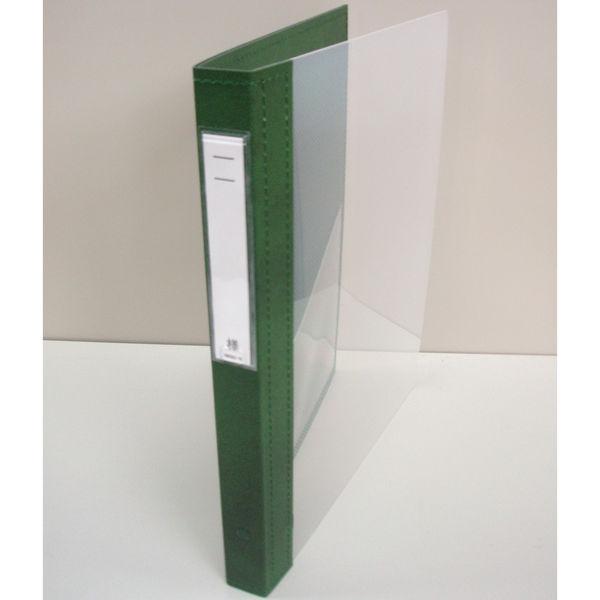 リヒトラブ カルテブック クリヤー表紙 30穴 背幅28mm グリーン HB418-3 1箱(10冊入) (直送品)