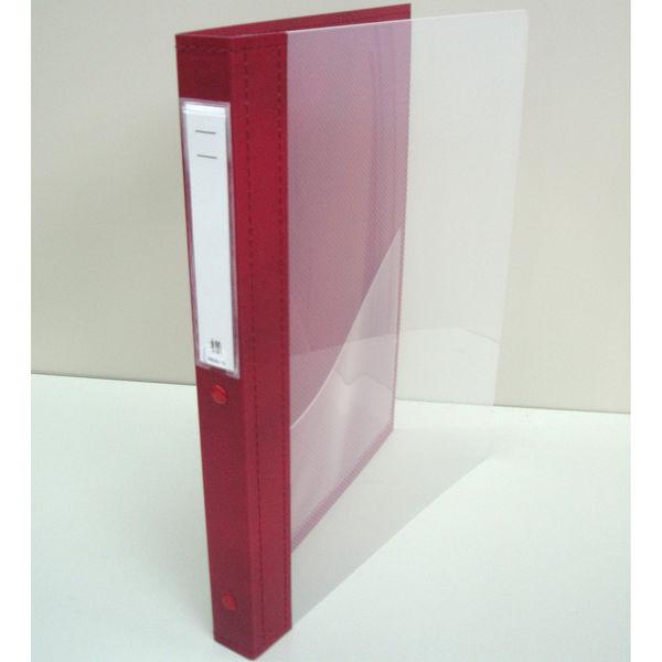 リヒトラブ カルテブック クリヤー表紙 30穴 背幅28mm レッド HB418-5 1箱(10冊入) (直送品)