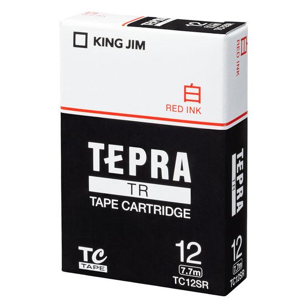 キングジム テプラ TRテープカートリッジ 12mm 白ラベル(赤文字) 1個 TC12SR