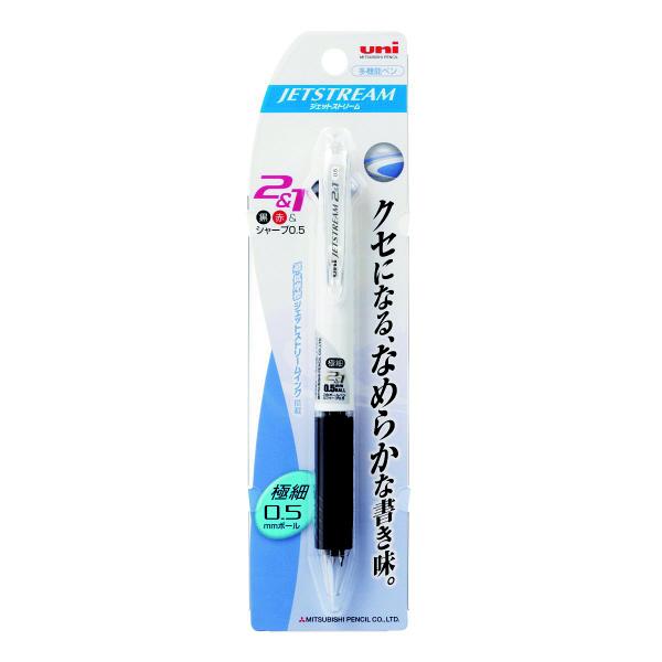 ジェットストリーム多機能ボールペン 2色+シャープ 0.5mm MSXE3-500-05 白 2本 三菱鉛筆uni (直送品)