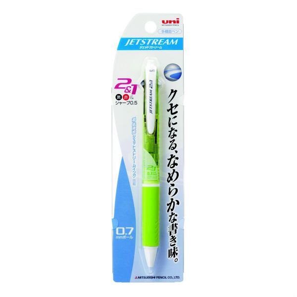 ジェットストリーム多機能ボールペン 2色+シャープ 0.7mm MSXE3-500-07 緑 2本 三菱鉛筆uni (直送品)